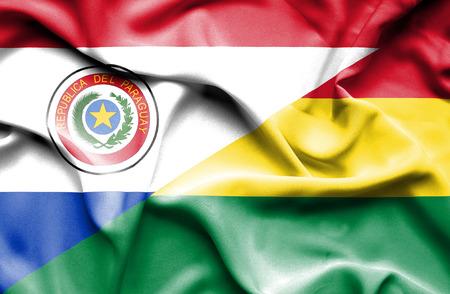 bolivia: Waving flag of Bolivia and Paraguay