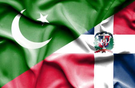dominican republic: Waving flag of Dominican Republic and Pakistan