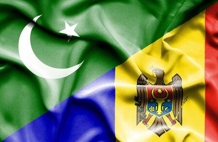 flag of pakistan: Waving flag of Moldavia and Pakistan