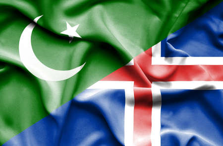 iceland: Waving flag of Iceland and Pakistan