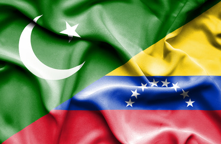 pakistani pakistan: Waving flag of Venezuela and  ,Pakistan,Pakistan flag,Pakistani flag, Pakistan Stock Photo