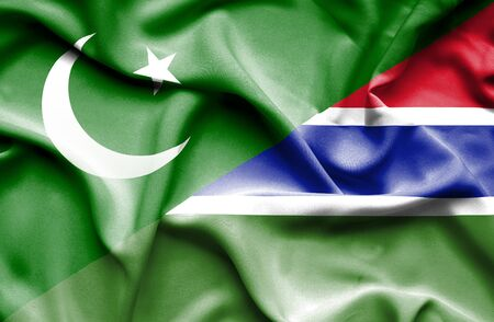 gambia: Waving flag of Gambia and Pakistan