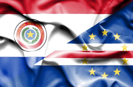 cape verde: Waving flag of Cape Verde and Paraguay