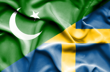 flag of pakistan: Waving flag of Sweden and Pakistan