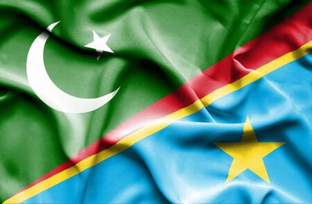democratic: Waving flag of Congo Democratic Republic and Pakistan