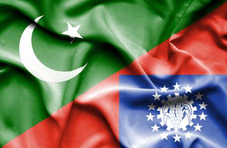 flag of pakistan: Waving flag of Myanmar and Pakistan
