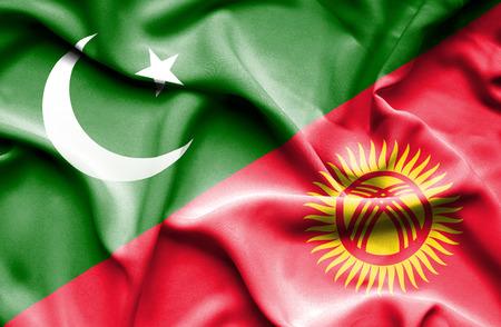 flag of pakistan: Waving flag of Kyrgyzstan and Pakistan
