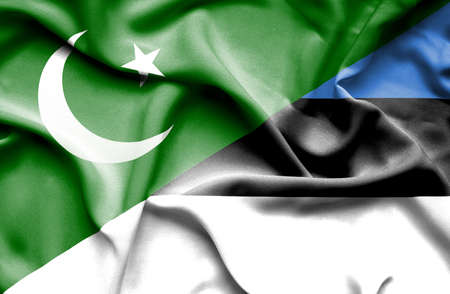 flag of pakistan: Waving flag of Estonia and Pakistan Stock Photo