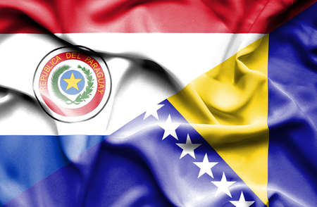 bosnia and herzegovina flag: Waving flag of Bosnia and Herzegovina and Paraguay Stock Photo
