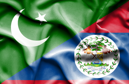 belize: Waving flag of Belize and Pakistan