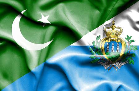 san marino: Waving flag of San Marino and Pakistan