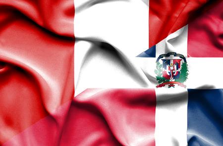 republic of peru: Waving flag of Dominican Republic and Peru