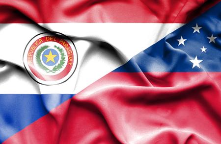 paraguay: Waving flag of Samoa and Paraguay