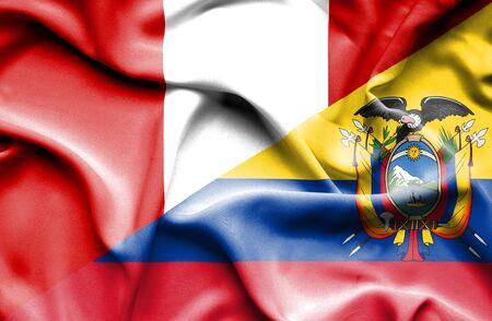 ecuador: Waving flag of Ecuador and Peru