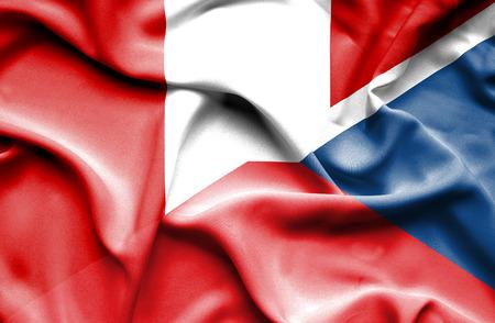republic of peru: Waving flag of Czech Republic and Peru Stock Photo