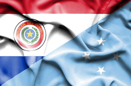 micronesia: Waving flag of Micronesia and Paraguay