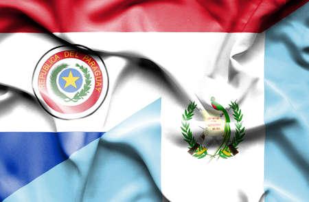 paraguay: Waving flag of Guatemala and Paraguay