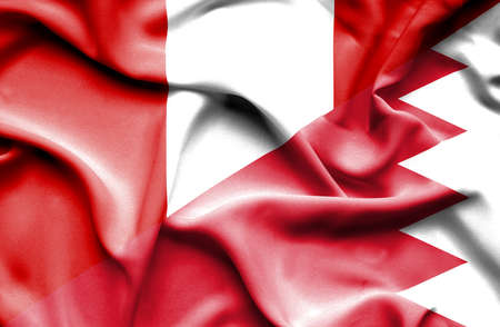bahrain money: Waving flag of Bahrain and Peru