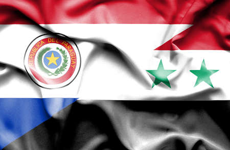 syria peace: Waving flag of Syria and Paraguay
