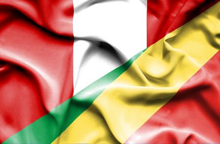republic of peru: Waving flag of Congo Republic and Peru Stock Photo