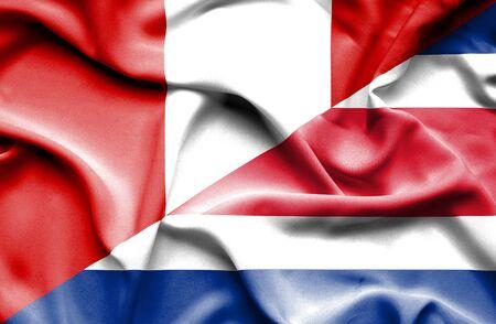 costa: Waving flag of Costa Rica and Peru