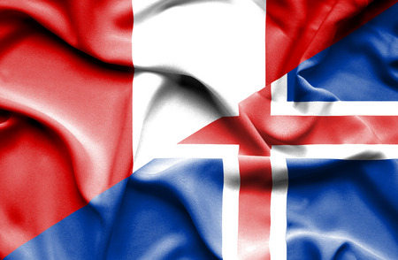 iceland: Waving flag of Iceland and Peru Stock Photo