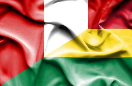 bolivia: Waving flag of Bolivia and Peru