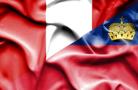 lichtenstein: Waving flag of Lichtenstein and Peru