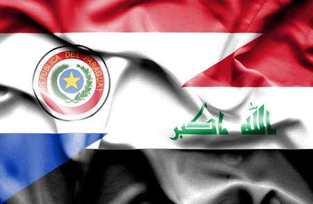 iraq conflict: Waving flag of Iraq and Paraguay