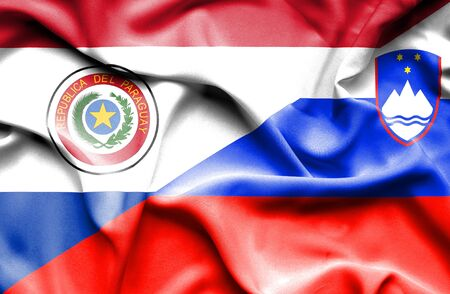 slovenia: Waving flag of Slovenia and Paraguay