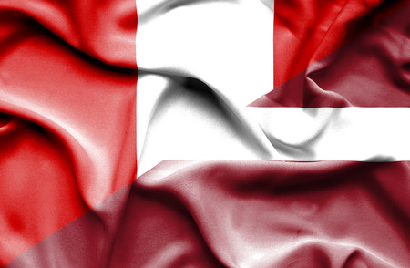 latvia: Waving flag of Latvia and Peru