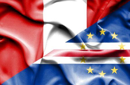 verde: Waving flag of Cape Verde and Peru Stock Photo