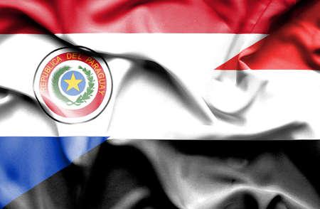yemen: Waving flag of Yemen and Paraguay