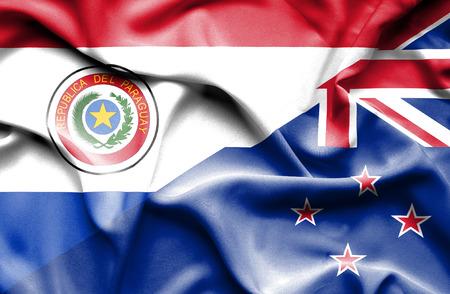 bandera de nueva zelanda: Ondeando la bandera de Nueva Zelanda y Paraguay