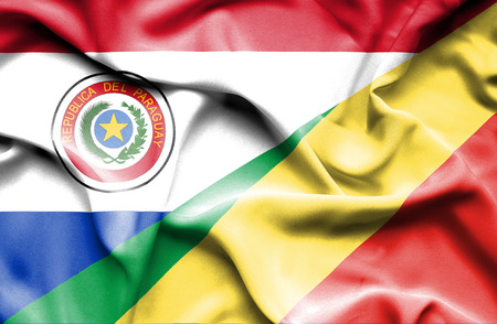 paraguay: Waving flag of Congo Republic and Paraguay