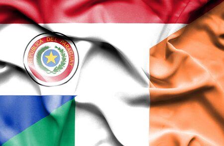 ireland flag: Waving flag of Ireland and Paraguay Stock Photo