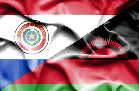 malawian flag: Waving flag of Malawi and Paraguay