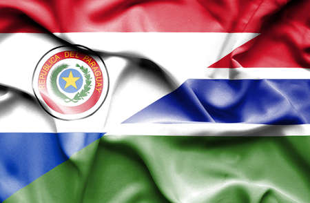 gambia: Waving flag of Gambia and Paraguay