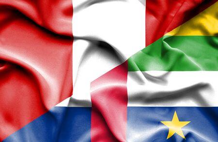 republic of peru: Waving flag of Central African Republic and Peru