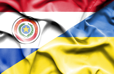 paraguay: Waving flag of Ukraine and Paraguay