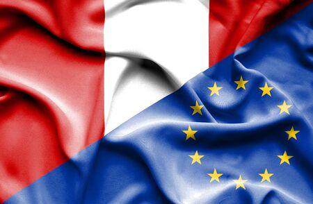 european union: Waving flag of European Union and Peru