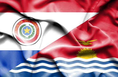 kiribati: Waving flag of Kiribati and Paraguay Stock Photo