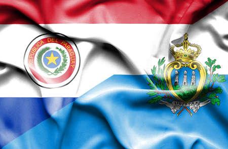 marino: Waving flag of San Marino and Paraguay