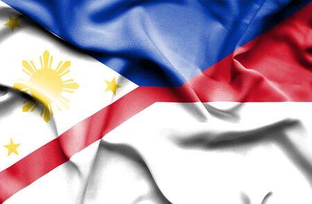 philippines: Waving flag of Monaco and Philippines