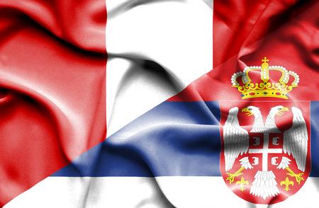 serbia: Waving flag of Serbia and Peru