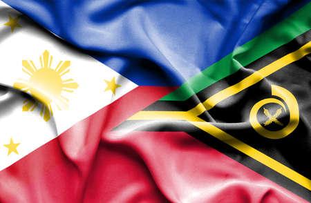vanuatu: Waving flag of Vanuatu and Philippines