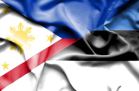 estonia: Waving flag of Estonia and Philippines