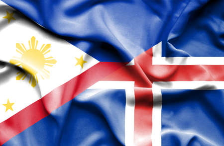 iceland: Waving flag of Iceland and Philippines Stock Photo