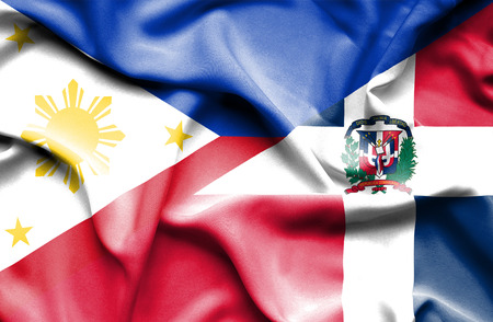 dominican republic: Waving flag of Dominican Republic and Philippines
