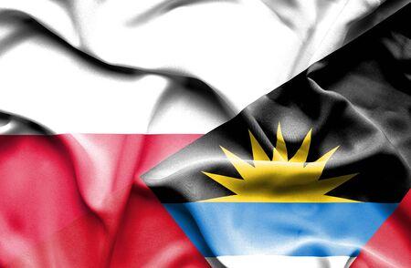 antigua: Waving flag of Antigua and Barbuda and Poland
